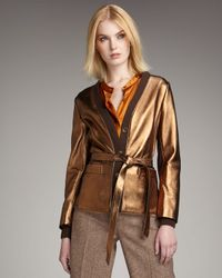 Marc By Marc Jacobs Metallic Limelight Leather and Ribbed-wool Jacket