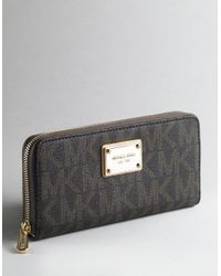 MICHAEL Michael Kors | Brown Jetset Zip Around Continental Wallet | Lyst