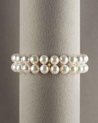 Mikimoto - White Double-strand Roundel Bracelet - Lyst