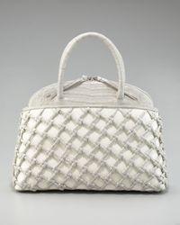 Nancy Gonzalez | White Crocodile-straw Dome Tote | Lyst