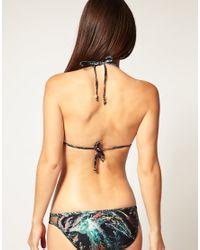 Insight Black Feather Print Triangle Cut Out Bikini Set