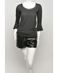 Sacai Gray Striped Ruffle-sleeve T-shirt