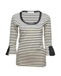 Sacai | Black Striped Ruffle-sleeve T-shirt | Lyst