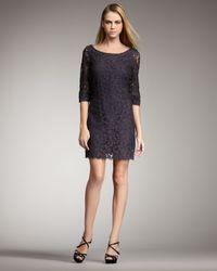 Shoshanna | Gray Lace Shift Dress | Lyst