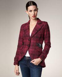 Smythe Red Plaid Leather-patch Jacket