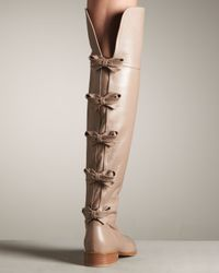 Valentino Natural Bow-back Over-the-knee Riding Boot