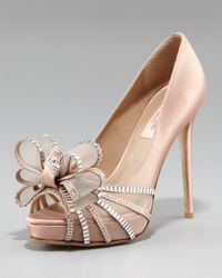 Valentino | Natural Rhinestone-bow Satin Pump | Lyst