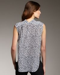 Theyskens' Theory Blue Leopard-print Sleeveless Blouse