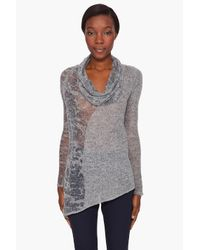 Helmut Lang | Gray Pull-over Burnout Sweater | Lyst