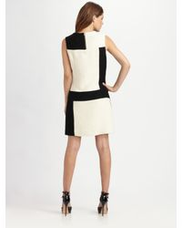 MILLY - Black Colorblock Wool Jacquard Dress - Lyst