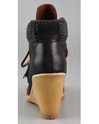 See By Chloé - Black Wedge Wallabee Booties - Lyst