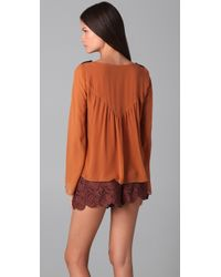 The Addison Story | Brown Bell Sleeve Top | Lyst