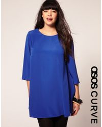 ASOS Collection - Blue Asos Curve 60s Swing Dress with Button Back Detail - Lyst