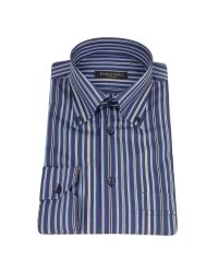 FORZIERI | Blue Variegated Striped Cotton Dress Shirt for Men | Lyst