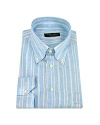 FORZIERI | Light Blue Striped Linen Italian Button Down Dress Shirt for Men | Lyst