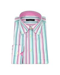 FORZIERI | Pink and Blue Striped Button Down Cotton Dress Shirt for Men | Lyst