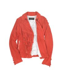FORZIERI - Ruffled Red Asymmetrical Zip Suede Jacket - Lyst