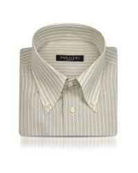 FORZIERI - Natural Sand Striped Linen and Cotton Italian Dress Shirt for Men - Lyst