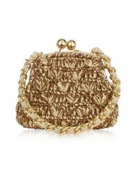 FORZIERI - Metallic Woven Straw & Leather Clutch Bag W/Chain Strap - Lyst