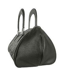 FORZIERI | Black Capaf White Stitched Squares Leather Handbag | Lyst