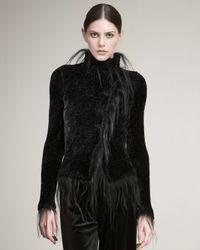 Giorgio Armani | Black Chenille Fur-trim Jacket | Lyst