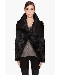 Helmut Lang | Flux Fur Spanish Rabbit Reversible Jacket in Black | Lyst