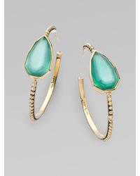 Stephen Dweck - Metallic Green Agate Quartz Cathedral Hoop Earrings - Lyst