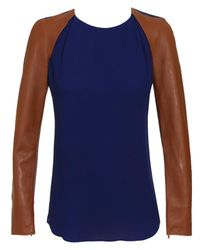3.1 Phillip Lim Blue Nappa Sleeves and Silk Crepe Top