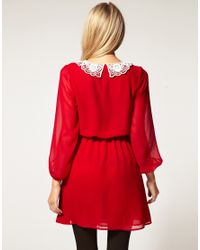 ASOS Collection - Natural Asos Petite Exclusive Mini Dress with Crochet Collar - Lyst