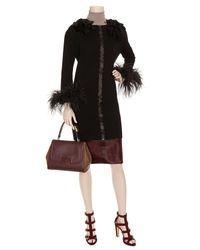 Lanvin Black Ostrich Feather Cuffs Wool Knit Coat