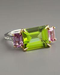 Paolo Costagli Green Peridot & Pink Sapphire Ring