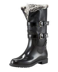 Stuart Weitzman | Black Faux-fur-lined Rain Boot | Lyst