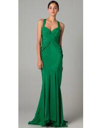 Zac Posen | Green Halter Gown | Lyst