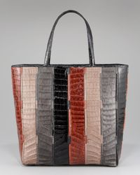 Nancy Gonzalez Multicolor Striped Crocodile Tote