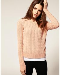 American Apparel - Pink Cable Knit Jumper - Lyst