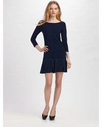 Shoshanna | Blue Wool and Silk Dress | Lyst