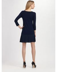 Shoshanna | Blue Wool and Silk Dress | Lyst