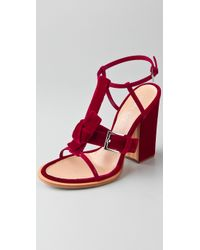Thakoon   Red Velvet High Heel Sandals   Lyst