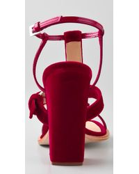Thakoon | Red Velvet High Heel Sandals | Lyst