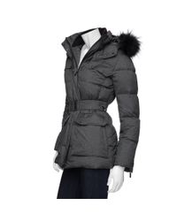 Add | Gray Preorder Belted Fur Trim Hooded Parka Puffer Jacket | Lyst