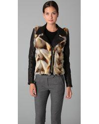 A.L.C. | Fox Fur Syd Jacket in Black | Lyst