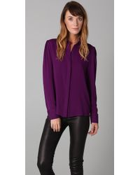 Alice + Olivia | Purple Alveria Stretch-silk Blouse | Lyst
