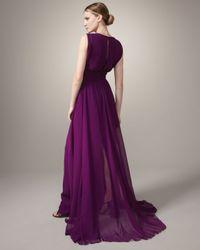 Badgley Mischka - Purple Embellished Gown - Lyst