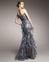 Badgley Mischka Metallic One-shoulder Ruffle Gown