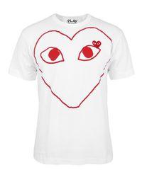 Play Comme des Garçons | White Heart-Print T-Shirt - For Men for Men | Lyst