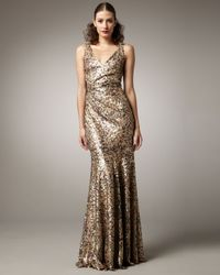 David Meister | Metallic Sequined Gown | Lyst