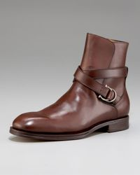 Ferragamo | Brown Chester Strap Boot for Men | Lyst