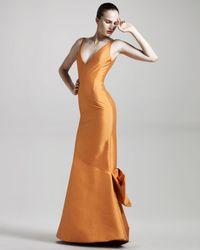 Isaac Mizrahi New York - Orange Tech Faille Gown - Lyst