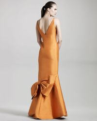 Isaac Mizrahi New York Orange Tech Faille Gown