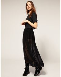 American Apparel | Black Sheer Maxi Skirt | Lyst